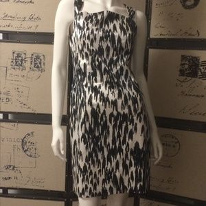 Ann Taylor Silk Black and white print dress